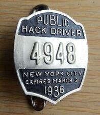 1938 Original New York City Public Hack License Driver Badge NYC Taxi Cab Pin