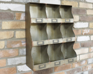 Pigeon Hole Cabinet Rustic Metal Wall Storage Shelf Industrial Display Tidy Unit