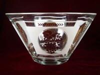 Grapes & Leaves Retro Large Glass Salad Bowl White & Gold Decals 40s 50s 60s (O)