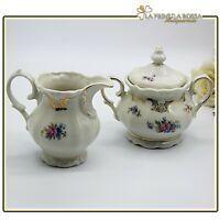 Set zuccheriera e lattiera in porcellana antica R Bavaria bricco latte oro
