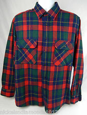 Vintage Sears Roebuck Men's Large Tartan Plaid Wool Blend Long Sleeve Shirt