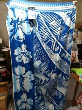 "New- Resort Living- Blue with Palm Leaves and Flowers 40""x 72""-100% Cotton"