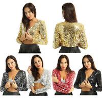 Women's Shiny Sequin Jacket Glitter Cropped Blazer Bolero Shrug Tops Clubwear