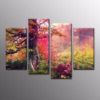 Autumn Canvas Prints Art Red Tree Wall Art Printed Canvas Painting Picture-4pcs