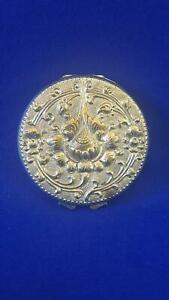 1930 Art Deco Indonesian Yogya Jogya Silver Plated Compact Powder Case