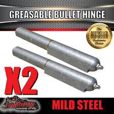 X2 Steel Bullet Hinges Greasable Brass Pin & Washer 100mm x 16mm Tailgate Door