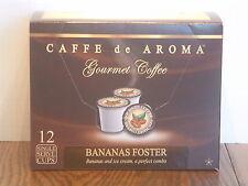 Caffe de Aroma Bananas Foster flavored 12 Single Serve K-Cups OK for 2.0