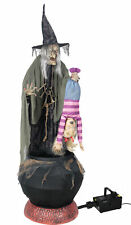 Life Size STEW BREW WITCH w/ KID Animated Halloween Prop Decor-FREE FOG MACHINE