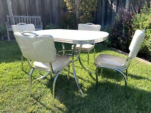 Douglas Construction Kitchen Master Vintage 1950's Formica Table+4 Chairs+Leaf