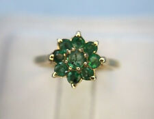 Estate Vintage 14k Yellow Gold Round Colombian Green Emerald Flower Ring