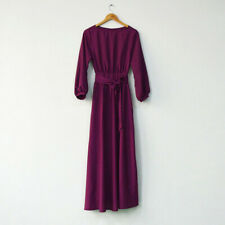 Autumn Elegant Women Long Dress Prom Party Dress Belt Vintage Formal Tunic Dress