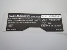 Nintendo Game Boy Advance SP Autocollant GBA SP numéro de série Sticker Label NEUF