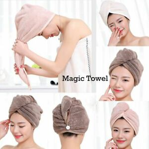Soft and Thick Coral Fleece Towel Women Hair Wrap Hat Spa Bath Shower Cap Turban