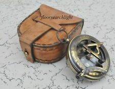 "Brass PUSH BUTTON Compass 2"" With Handmade Leather Case Collectible Gift"