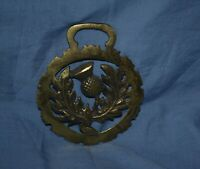 Vintage Horse Harness Brass Medallion Bridle Ornament THISTLE