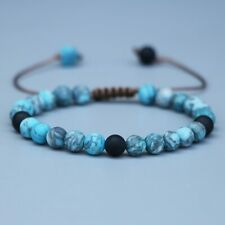 Natural Blue Apatite Black Onyx Beaded Friendship Bracelet Stacking Lucky Beads