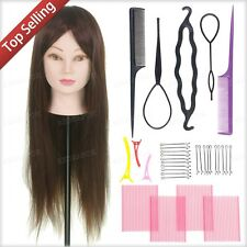"50% 24"" Human Hair Training Head practice Hairdressing Mannequin + Braid Tool"