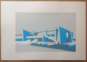 3 colour screenprint - Sailing Academy, Portland (Dorset) original limited ed