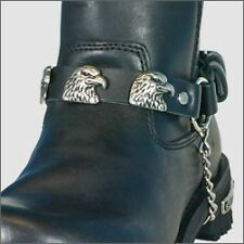Chaine de botte en cuir Aigle Eagle metal Black leather boot moto custom