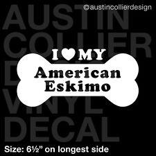 "6.5"" American Eskimo vinyl decal car window laptop sticker - dog breed rescue"