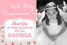 FIRST HOLY COMMUNION THANK YOU CARDS GIRLS - FLAT PHOTO CARDS - 10 PERSONALISED