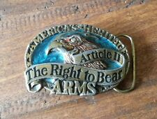 Right to Bear Arms Belt Buckle Eagle Solid Brass Vintage 1984
