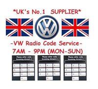 VW Radio Code Unlock Decode Service RCD510 RCD310 RNS315 Beta Gamma