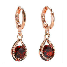 Girl's Rose Gold Plated Stone Crystal Pierced Dangle Earrings Jewelry Gift R9j8 Red