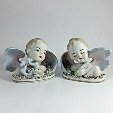 "Vintage Lefton Pair China Hand Painted Angel Cherub Figurine Bust 3"" x 4"""