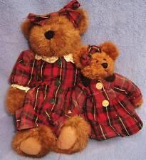 Boyds Bear set ETHEL & BETSY plush teddy pink gray dress