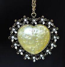 Corazón Collar cadena de con strass flores corona retro vintage color oro