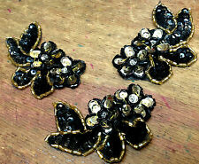 """BEAD Flower Leaves Sequins BLACK GOLD 2x2.75"""" Hand Sewn PETITE APPLIQUEs 3pcs"""
