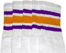 "22"" KNEE HIGH WHITE tube socks with PURPLE/GOLD stripes style 3 (22-72)"