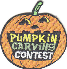 """PUMPKIN CARVING CONTEST "" PATCH - Iron On Embroidered Applique/Autumn,Halloween"
