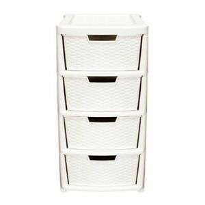 Premier Rattan 4 Drawer Tower Cream Home Plastic Storage Unit Office Bedroom Box