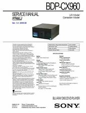 Sony BDP CX960 Multi Disc Blu Ray Player service manual and repair guide