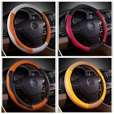 New Soft Leather Auto Car Steering Wheel Cover An-ti Slip Grip Hit Color 38cm