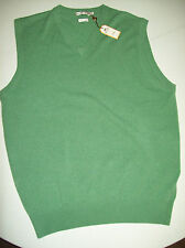 Peter Millar 100% Cashmere l V-neck Sweater Vest NWT Medium $245 Briar Green