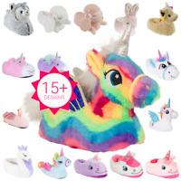 New Girls / Infant UNICORN Fluffy Novelty 3D Character Plush Slip On Slippers