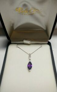Amethyst Pendant Necklace with Diamonds in 14kt White Gold