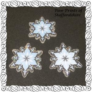 SALE: 3 x Snowflake Flatback Planar Resin Embellishments