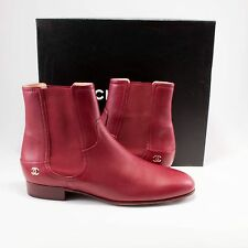 Chanel 16A 42 Burgundy Red Gold Calf Leather Chelsea Flat Boots Booties #A103