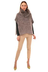 RRP €1320 FABIANA FILIPPI Knitted Cape One Size Cashmere Silk Merino Wool Blend