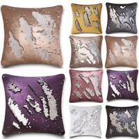 """NEW Plain Reversible Sequins Luxury Cushion Cover 43x43cm 17""""x17"""" 8 Colours"""
