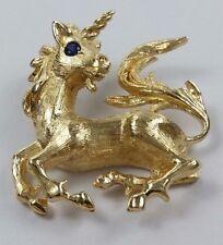 Beautiful 14K Karat Solid Yellow Gold Unicorn Charm Pendant w/ Sapphire - Nice!