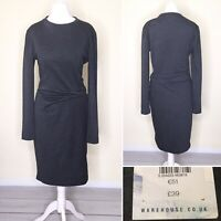 Warehouse Dress UK 10 Grey Jersey Ruched Long Sleeve Stretch Midi NEW £39 Pencil