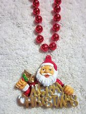 "Jolly ""Merry Christmas Santa Claus"" Necklace Mardi Gras Bead Bells Xmas (B873)"