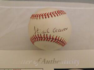 Hank Aaron Signed Official National League Bill White Baseball JSA LOA