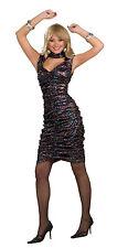 Black Glitter Disco Girl Fancy Dress Costume 1980S Pop Star Retro Outfit New