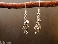 Kokopelli Fertility God Earrings silver plated wiccan pagan jewellery pair